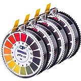 Tiras de Papel Reactivas de pH Universales Rollo de Tiras de Prueba de pH, Rango Completo de Medición de pH de 0-14, 2 Rollos, 16,4 pies/Rollo (4 Rollos)