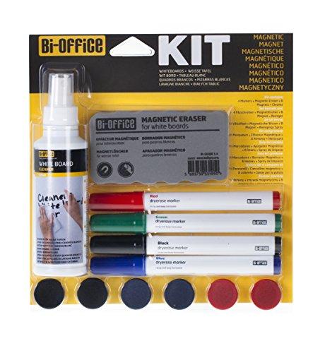 Bi-Office - Kit de Limpieza para Pizarras Blanca con 4 Rotuladores, Spray Limpiador, 6 imanes y Borrador Magnético