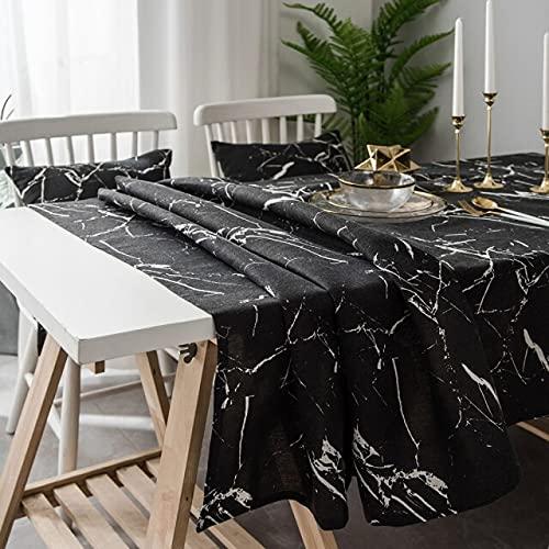 Mantel Rectangular con Textura de mármol Negro / Blanco para decoración de hogar, 140x200cm B