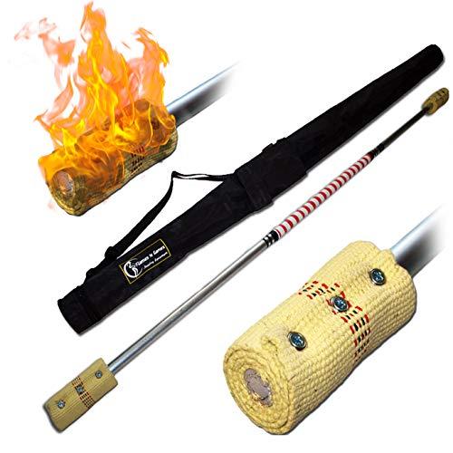 Pro Bâton de Contact (Inflammable) (140cm/2x100mm Meche) + Flames N Games Sac de Voyage! Staff de Contact AKA Contact Fire Staff Inflammable Professionnel Bâtons Indien, Grand Flammes!