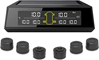 StoreBao Solar Power Wireless Car Tire Pressure Monitoring System Tool For RV Trailer - 6 External TPMS Sensors (116 PSI /...