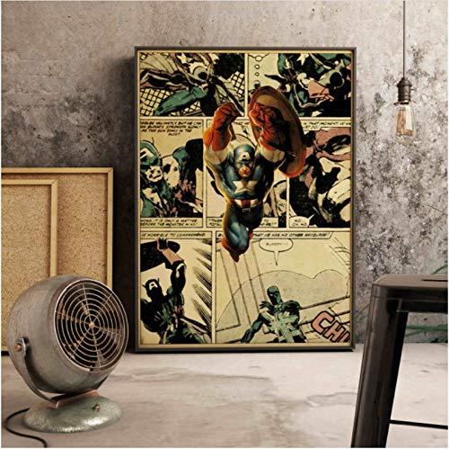meilishop Decoración De La Pared De La Familia Marvel Superhéroe Ilustración Cómica Cartel De Estilo Retro Póster De Pintura De Lienzo A44 (40X50Cm) Sin Marco