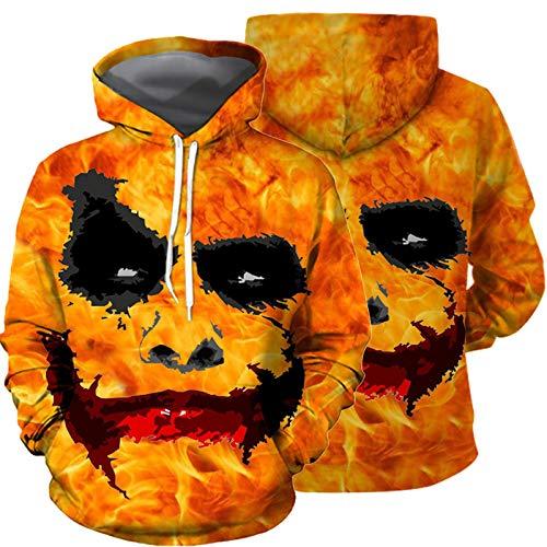 ZYQDRZ Disfraz De Halloween De ImpresiN Digital 3D, SuTer con Capucha, Jersey, Uniforme De BIsbol De Manga Larga,Naranja,XXXL