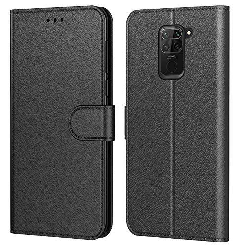 Tenphone Etui Coque pour Xiaomi Redmi Note 9,Plusieurs Couleurs Disponible,Protection Etui Housse Premium en Cuir PU,Fermeture Magnétique pour (Redmi Note 9 (6,53 Pouces), Book Noir)