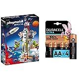 Playmobil - Space Cohete con Plataforma de Lanzamiento, Multicolor (9488) + Duracell Ultra AA con Powerchek, Pilas Alcalinas, Paquete de 4, 1.5 Voltios LR06 MX1500