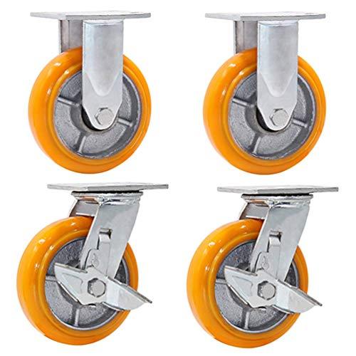 Barm Ruedas giratorias de poliuretano naranja X4 ruedas resistentes, desgaste y ruido, 1600 kg, 100/125/150/200 mm (4/5/6/8')