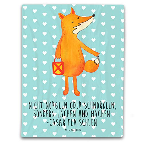 Mr. & Mrs. Panda Wohnzimmer, Tagesdecke, 125x155cm Kuscheldecke Fuchs Laterne mit Spruch - Farbe Türkis Pastell