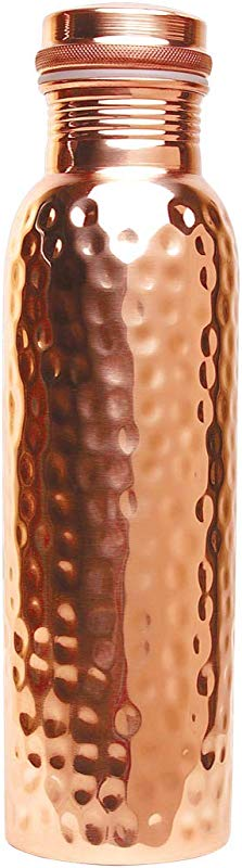 Scash Made In India 30 Oz Handmade Handcrafted 100 Pure Copper Water Bottle Vessel Hammered Finish Leak Proof Gift Set Box Ayurveda Health Benefits