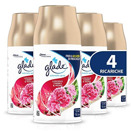 Glade Automatic - Spray recargable, fragancia Luscious Cherry & Peony, tamaño de repuesto, 1 paquete con 4 recargas, 260 g