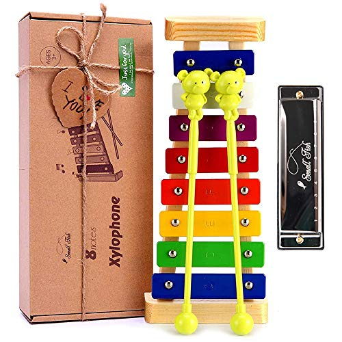 Xylophone for Toddlers and Kids, Baby Boys and Girls Wooden Musical Instrument Toys for Birthday, DIY Idea for Mini Musicians, Glockenspiel with Child Safe Mallets, Music Cards and Harmonica