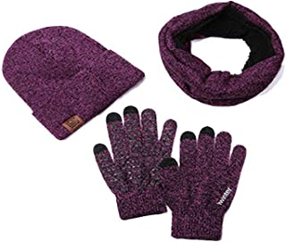 Men And Women Winter Scarf And Glove Set Thermal Hat Easy to Match Non-Slip Touch Screen Gloves Warm Scarf