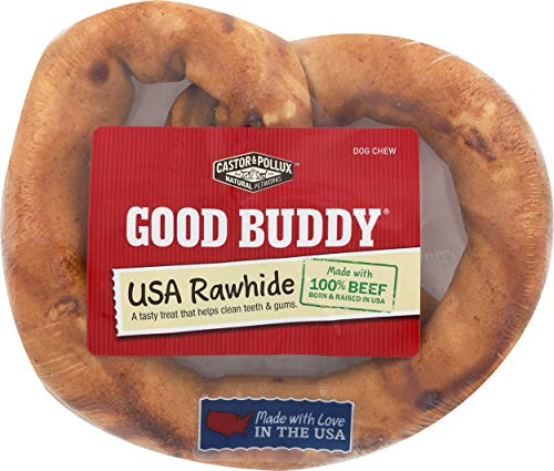 Castor & Pollux Good Buddy Made in USA Natural Chicken Flavor Rawhide Dog Treats 6 Pretzel