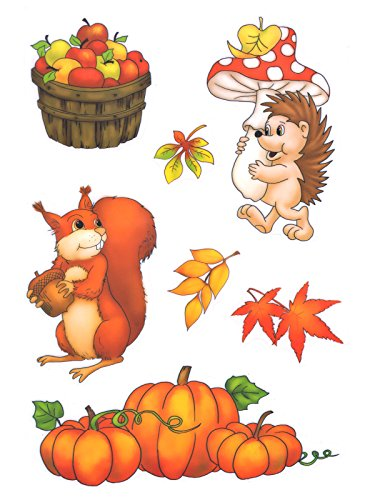 dpr. Fensterbild Set 7-TLG. Igel Pilz Kürbis Eichhörnchen Blätter Herbst Fenstersticker Fensterdeko Herbstdeko