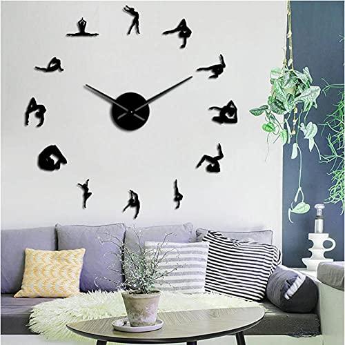 JKLMZYT Espejo acrílico Pegatina Gimnasia niñas Silueta DIY Reloj de Pared Amante del Deporte Atleta decoración del hogar Reloj de Cuarzo con pilas-27INCH