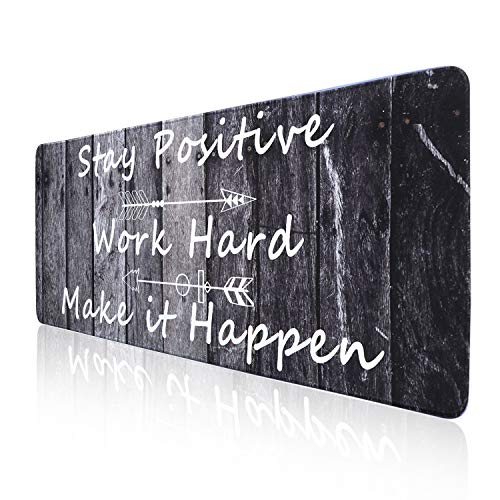 Holilife Desk Pad Large Gaming Mouse Pad with Stitched Edges, Extended Mouse Pad Desk Mat with Non-Slip Rubber Base, Waterproof Keyboard Pad Mat for Home Office Work (Wood Grain, 31.5x11.81 in)