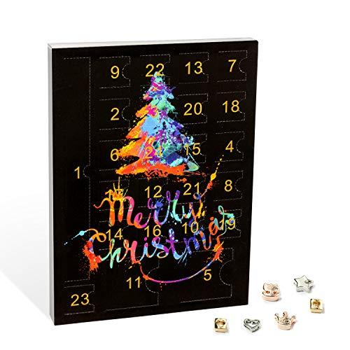 VALIOSA Merry Christmas Mode-Schmuck Adventskalender mit 1 Kette, 3 Armbänder, 20 Charms, das besondere & originelle Geschenk für Mädchen, Frauen und Beste Freundin, Mehrfarbig, 24-teilig (1 Set)
