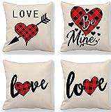 GjbCDWGLA Love Cotton Linen Square Throw Pillow Case Set 4Pcs Fundas De Cojín 45X45Cm Sala De Estar Sofá Sofá Cama