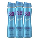 Secret Outlast Dry Spray Antiperspirant and Deodorant Completely Clean Scent, 3.8 oz, Pack of 3