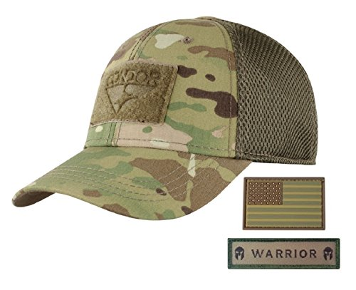 Condor Flex Mesh Cap (Multicam) + PVC Flag & Warrior Patch, Highly Breathable Fitted Tactical Operator Hat (S/M)