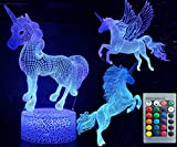 3D Unicorn Night Light Three Pattern and 7 Colors Change Decor Lamp with Remote Control Optical Illusion As a Gift Ideas for Boys and Girls