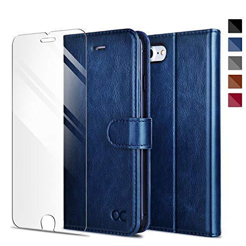 OCASE Compatible for iPhone SE 2020 Case/iPhone 8/ iPhone 7 Wallet Case, PU Leather Flip Phone Cover with [Card Slot] [Kickstand] [Tempered Glass Screen Protector] - Dark Blue