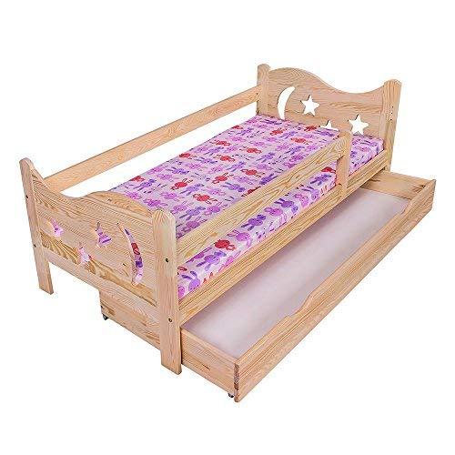 KAGU Chrisi Kinderbett Jugendbett Juniorbett Bett (140x70 cm oder 160x80 cm). Kiefernholz Massivholz inkl. Matratze und Schublade. (160 x 80 cm, Kiefer)