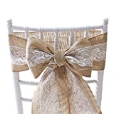 FEOYA Nœud de Chaise en Toile Jute Housse de Chaise Dentelle Décoration pour Réception Mariage Soirée 15 * 240 CM