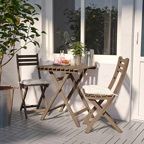 IKEA ASKHOLMEN Silla plegable al aire libre, color marrón claro