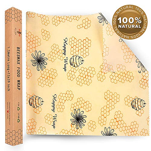 Large Reusable Beeswax Food Wrap Roll 32 cm x 1.2m – Cut to Fit; for Sandwiches, Cheese, Vegetables