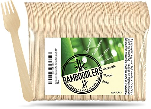 Disposable Wooden Forks by Bamboodlers | 100% All-Natural, Eco-Friendly, Biodegradable, and Compostable - Because Earth is Awesome! Pack of 100-6.5' Forks.