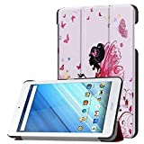 Zrengp Ultra Slim Folio Stand Luxury Leather Case with Sleep Wake Up Function Smart Cover for Acer Iconia One 8 B1-850 B1-860 B1-870 / One8 B1-860A 8' (Elf Girl)