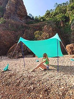 SHADYSAND - Grande Tente de Plage Familiale Anti UV (UPF 50+) Jusqu?à 5 Personnes, compacte légère et Pratique. Abri de Plage, abri Soleil pour bébé, Enfant et Adulte. Entre dans Une Valise à Main