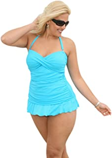 Always For Me Women's Plus Size Two Piece Tankini & Ruched Skirt Set - Ladies' Swimwear