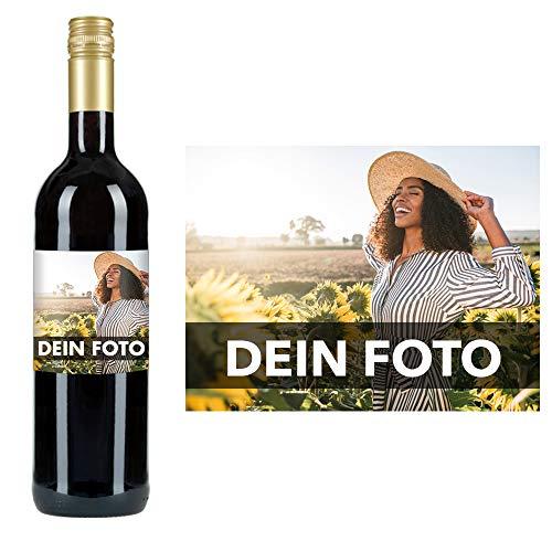 Eventwein Dornfelder Rotwein mit Foto gestalten - Personalisiertes Geschenk zur Hochzeit, zum Geburtstag oder zu Weihnachten - optional mit Geschenkverpackung - Herkunft: Deutschland, 0.75L