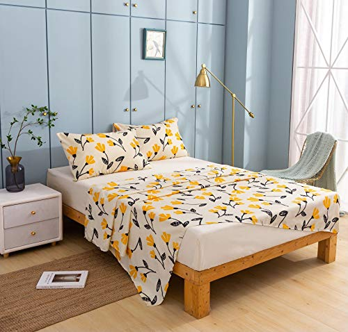 DaDa Bedding Fresh Yellow Fleur Fitted and Flat Bed Sheets - Tulip Flowers Floral Botanical Garden Light Tan Background - Bright Vibrant w/Pillow Cases Set - King Size - 4-Pieces