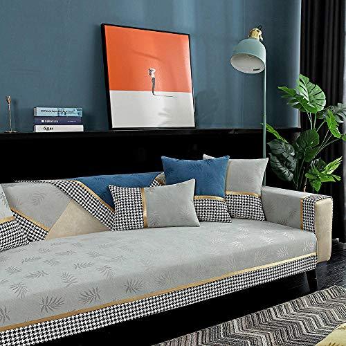 kinfuki Housse Canapé d'angle Extensible avec Accoudoirs Couverture de Canapé en Forme,Housse de Coussin canapé en Tissu Jacquard, Gris Clair_90 * 120