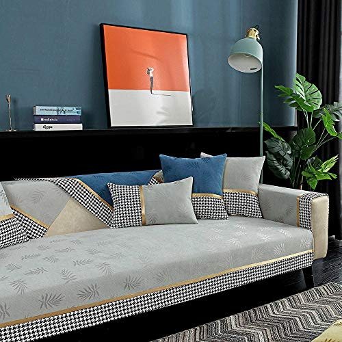 Homeen Sofa Furniture Protector Slip Cover Fabric jacquard sofa cover Slipcover for Chair/Loveseat/Couch,beautiful couch Protector,modern Sofa shield for leather couch-light_grey_45*45cm_Pillowcase