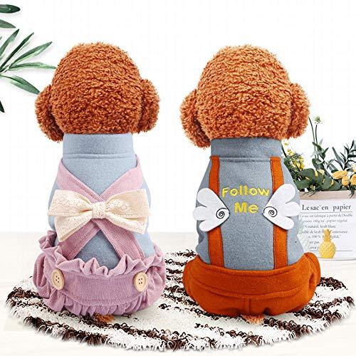 KEAIGUI98 Haustier Hundebekleidung,Kleiner Hund Vierbeiner,Herbst und Winter verdickender Kleiner Hundelatz Wärmeanzug - rosa Hose + Blaue Kleidung_M- ca. 8 kg [Brust 42 Rücken 30cm]