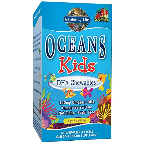 Garden of Life Oceans Kids, Dha Chewables, Age 3 and Older, Berry Lime, 120 Chewable Softgels, 1 Units