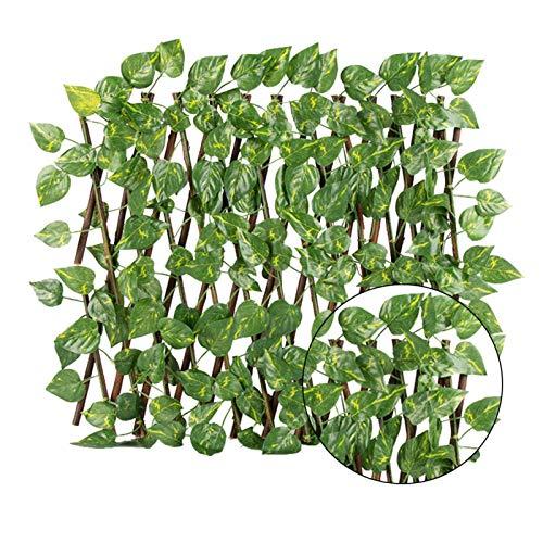 Seii NC56 Künstlicher Gartenpflanzen Zaun Hölzerner Heckenzaun Sichtschutzzaun Bildschirm Der Blattgitter Erweitert Dekorativer Einziehbarer Zaun des Kunstblattes Für Gartendekor Im Freien portable