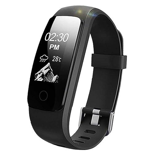 Lintelek unisex ID107PLUSHR frequenza cardiaca fitness Watch aggiornato Activity Tracker con diverse modalità di sport, IP67impermeabile touch screen pedometro per Android e iOS Smart Phone, nero, singolo