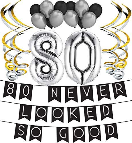 Sterling James Co. Confezione Festa Di Compleanno Gli 80 Non Sono Mai Stati Così Belli – Confezione Buon Compleanno Nera & Argento, Palloncino E Vortici Buon Compleanno - Decorazioni Di Compleanno