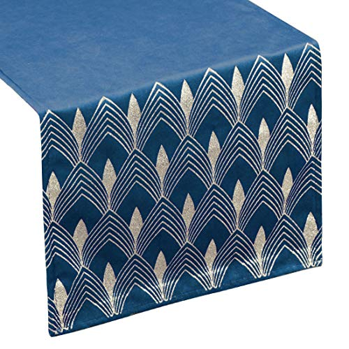 Eurofirany tafelkleed, tafelloper, fluweel, geometrisch patroon, tafeldecoratie, tafelkleed, tafelloper, fluweel, elegant, 1 stuks, marineblauw, 40 x 140 cm