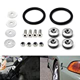 iJDMTOY AA2027-Silver Silver Finish Quick Release Fastener Kit Compatible with JDM KDM Euro Car Front/Rear Bumper or Trunk Fender Hatch Lid (Universal All Fit)