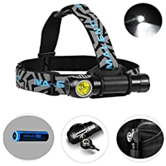 SUPER BRIGHT 18650 RECHARGEABLE HEADLAMP : Ultilizes 1 piece of CREE XHP70 2nd generation LED, Maximum output of 3000 lumens, include a piece of 18650 battery. MULTIPLE USE OPITION: Packstrap / Pocket / Headlamp. Including an easily detachable head s...