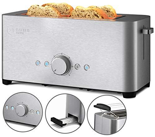 Balter Toaster 4 Scheiben, Langschlitz, Edelstahl, Brötchenaufsatz, Auftaufunktion, Brotzentrierung, Krümelschublade, TS-14, Farbe: Silber
