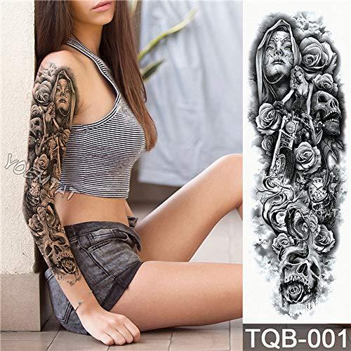 Full Flower Arm Tattoo Sticker Tiger Down Mountain Body Painting Tatuaje de transferencia de agua