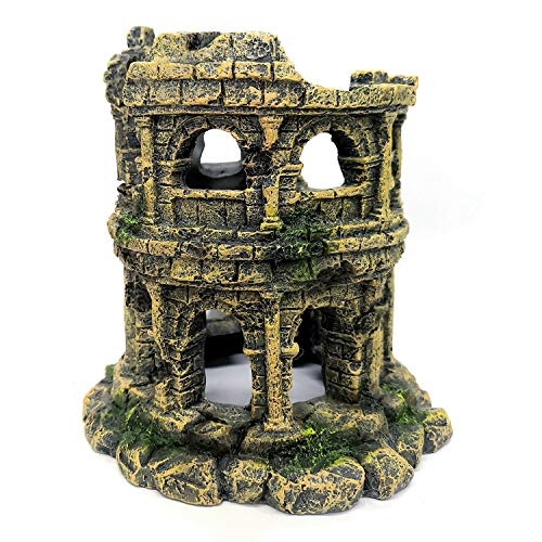 M2cbridge Antique Roman Column Ruins European Castle Aquarium Decorations Fish Tank Hideout Rocks (Roman Column Round)