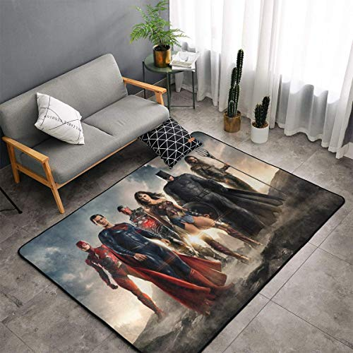 """Justice League Non-Slip Area Rugs Fluffy Machine Washable Carpets 60"""""""" X 39"""""""" Suitable for Children Bedroom, Office, Coffee Table, Balcony Home Decor Rugs"""