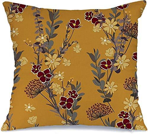 Funda de Cojine Throw CojínFlor Color Amarillo Estilo Azulejo Rosa Primavera Retro Patrón Mano Textura Prado Flora Dibujo Verde Fundas para almohada 45X45CM